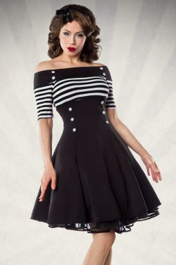 Rockabilly retro šaty Rosemary černé s bílými proužky