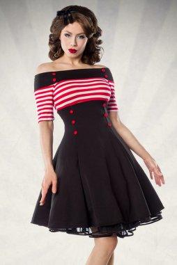 Rockabilly retro šaty Rosemary černé s červeno-bílými proužky