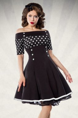 Rockabilly retro šaty pro plnoštíhlé Rosemary černé s bílými puntíky