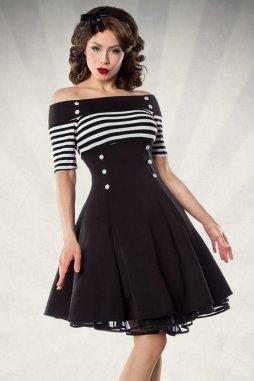Rockabilly retro šaty pro plnoštíhlé Rosemary černé s bílými proužky
