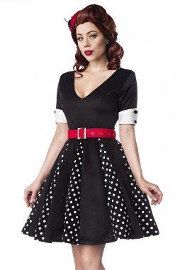 Rockabilly retro šaty pro plnoštíhlé Alexandra černé s bílými puntíky