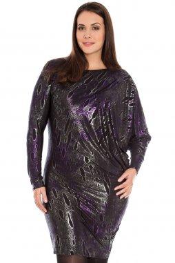 Společenské šaty pro plnoštíhlé Mirella II fialovo-černo-stříbrné