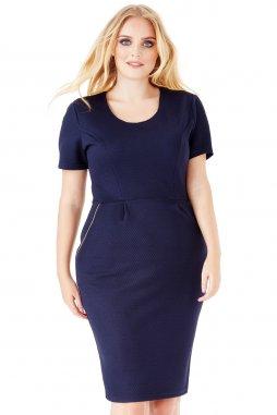Společenské šaty pro plnoštíhlé Keren tmavě modré