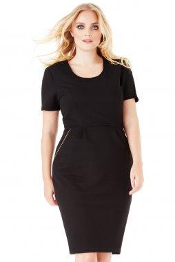 Společenské šaty pro plnoštíhlé Keren černé