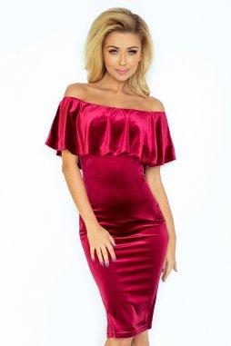 Plesové sametové šaty pro plnoštíhlé Santina vínově červené