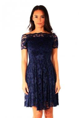 Společenské krajkové šaty Donya tmavě modré