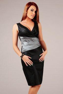 Společenské šaty pro plnoštíhlé Jacklyn stříbrno-černé