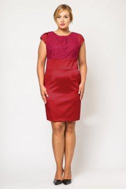 Společenské šaty pro plnoštíhlé Therese s krajkou červené