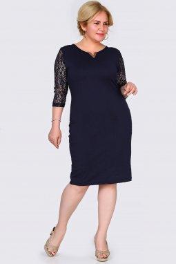 Společenské šaty pro plnoštíhlé Mignon tmavě modré