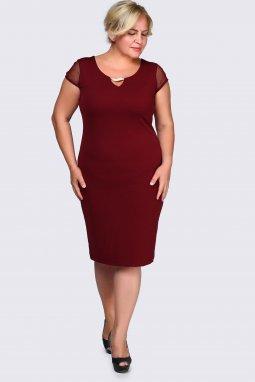 Společenské šaty pro plnoštíhlé Enrica vínově červené
