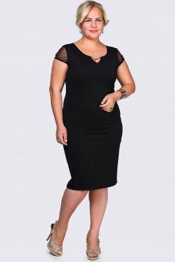 Společenské šaty pro plnoštíhlé Enrica černé