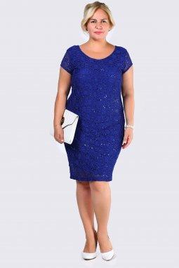 Společenské šaty pro plnoštíhlé Felipa modré