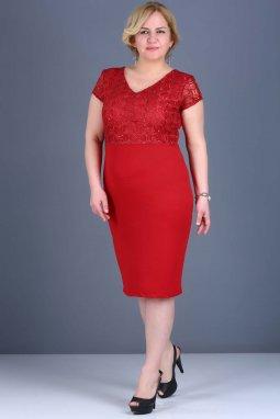 Společenské šaty pro plnoštíhlé Electra červené