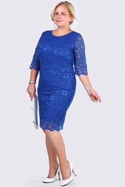 Společenské šaty pro plnoštíhlé Terisa modré