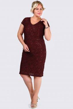 Společenské šaty pro plnoštíhlé Raguel vínově červené