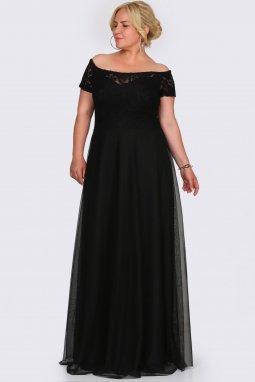 Společenské šaty pro plnoštíhlé Fiorenza černé dlouhé