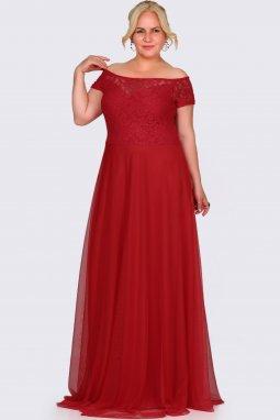 Společenské šaty pro plnoštíhlé Fiorenza červené dlouhé