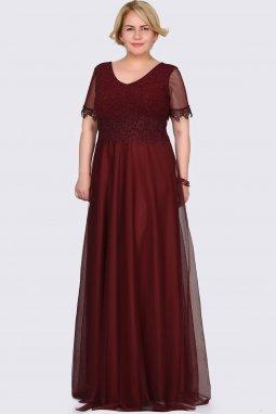 Společenské šaty pro plnoštíhlé Estrella vínově červené dlouhé