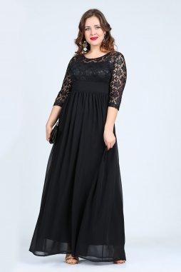 Společenské šaty pro plnoštíhlé Isidora černé dlouhé