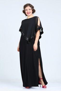 Společenské šaty pro plnoštíhlé Cassandra černé dlouhé