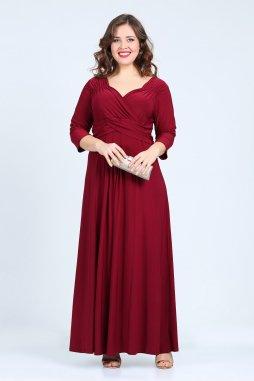 Společenské šaty pro plnoštíhlé Giovanna vínově červené dlouhé