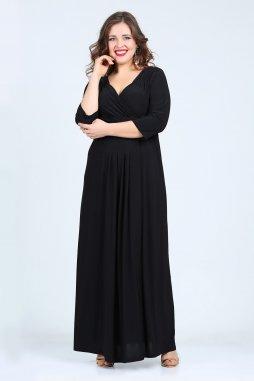 Společenské šaty pro plnoštíhlé Giovanna černé dlouhé