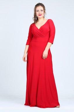 Společenské šaty pro plnoštíhlé Feliciana červené dlouhé