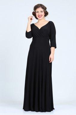 Společenské šaty pro plnoštíhlé Feliciana černé dlouhé