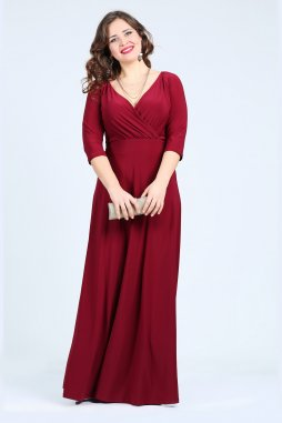 Společenské šaty pro plnoštíhlé Feliciana vínově červené dlouhé