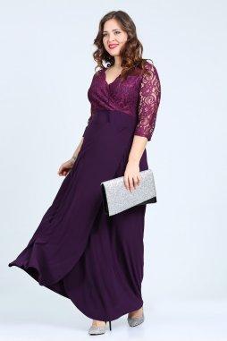 Společenské šaty pro plnoštíhlé Rafaella fialové dlouhé