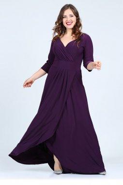 Společenské šaty pro plnoštíhlé Federica fialové dlouhé