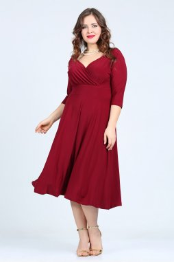 Společenské šaty pro plnoštíhlé Cassidy vínově červené