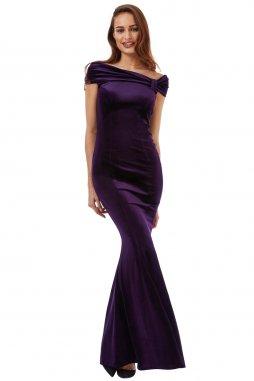 Dlouhé luxusní plesové sametové šaty Doretta tmavě fialové