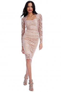 Společenské krajkové šaty Priscilla pudrové