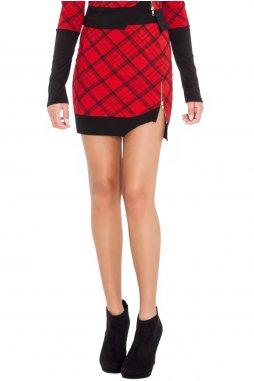 Sukně černo-červená se vzorem detail
