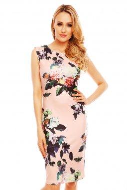 Společenské šaty Paris světle růžové s květy