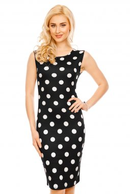 Společenské šaty Paris černé s bílými puntíky