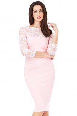 Společenské šaty pro plnoštíhlé Queen světle růžové