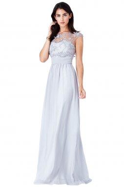 Luxusní společenské šaty pro plnoštíhlé Floretta světle šedé