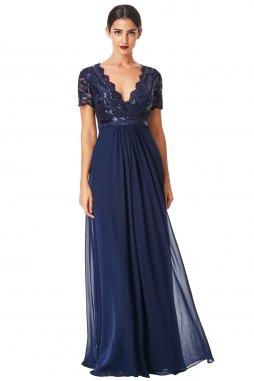 Luxusní společenské šaty Tiffanie tmavě modré