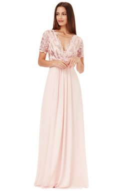 Luxusní společenské šaty pro plnoštíhlé Tiffanie pudrové