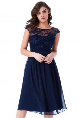 Luxusní společenské šaty Floretta II tmavě modré
