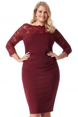Společenské šaty pro plnoštíhlé Queen vínově červené
