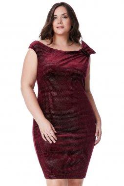 Společenské šaty pro plnoštíhlé Salome vínově červené