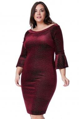 Společenské šaty pro plnoštíhlé Velvet vínově červené