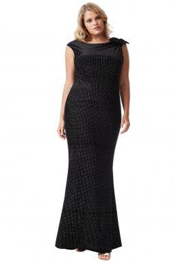 Plesové šaty pro plnoštíhlé Ivelisse černé dlouhé