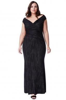Plesové šaty pro plnoštíhlé Conchita černé dlouhé