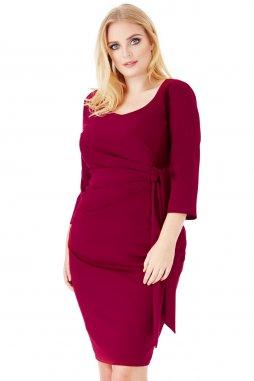 Společenské šaty pro plnoštíhlé Deena vínově červené
