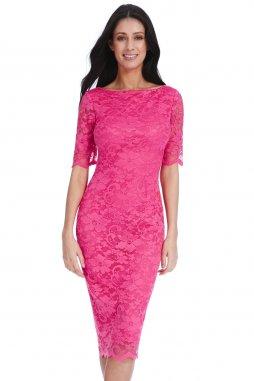 Společenské krajkové šaty Caprice fuchsiové