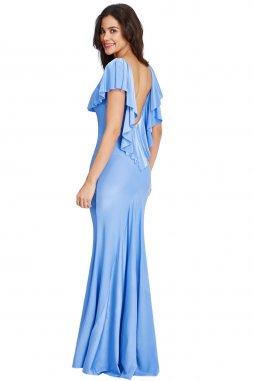 Plesové šaty Christine světle modré zezadu